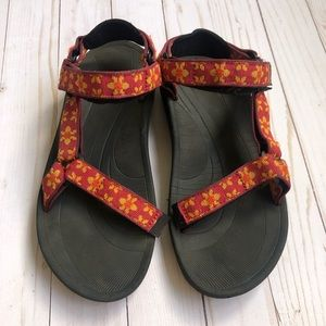 Rare Teva Print Red with Yellow Flowers